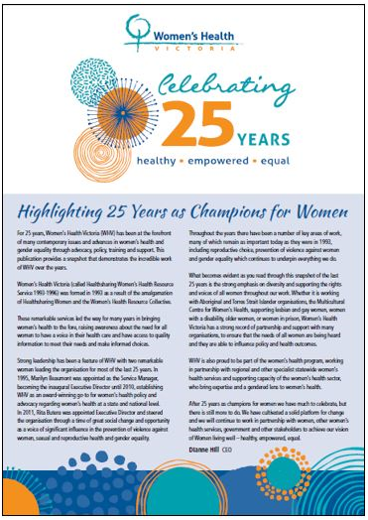 Highlighting 25 years as champions for women cover image