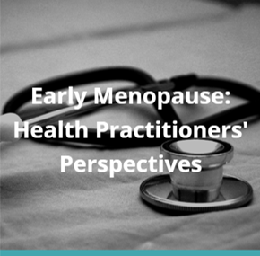 Early Menopause: Health Practitioners' Perspectives image. Black and white photo of a stethoscope on linen.