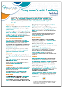Young women's health and wellbeing Fact Sheet