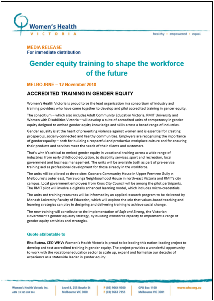 Gender equity training to shape the workforce of the future media release thumbnail