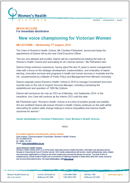 New voice championing for Victorian women | Women's Health