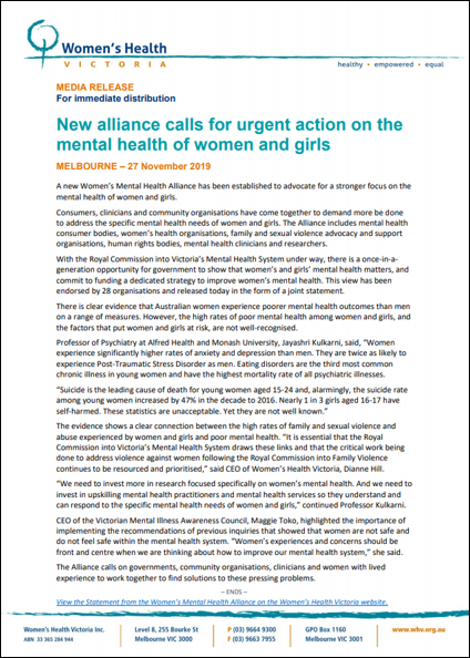 Image: New alliance calls for urgent action on the mental health of women and girls