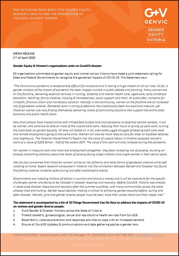Gender equity and women's organisations unite on COVID 19 Joint Statement image