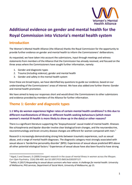 Front page of document, Women's Mental Health Alliance additional evidence to the RC