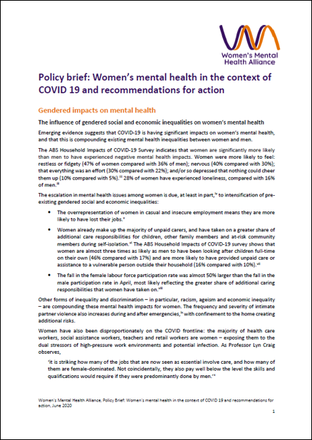 Women's mental health in the context of COVID-19 cover image