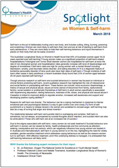 Spotlight on women and self harm