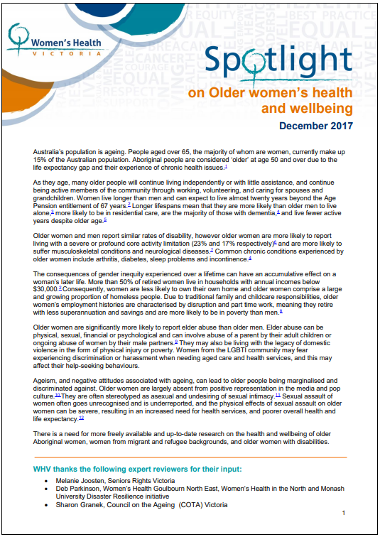 Spotight on older women's health and wellbeing