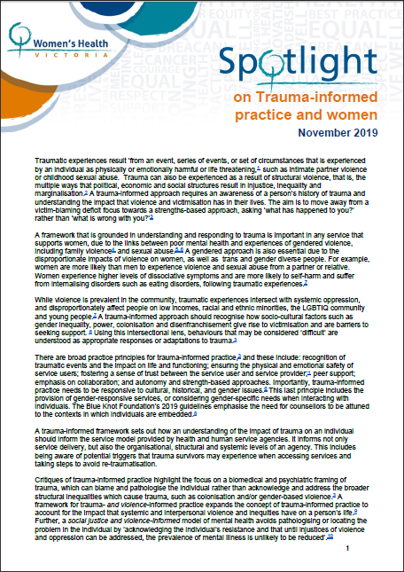 Spotlight on trauma-informed practice and women cover image