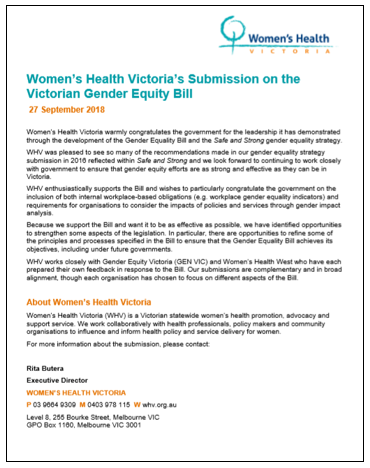 Victorian Gender Equity Bill submission