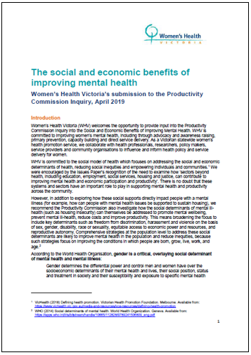 Submission to Inquiry into the social and economic benefits of improving mental health - cover image