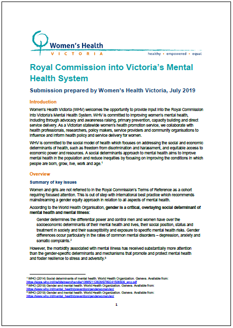 Submission to Royal Commission Into Victoria's Mental Health System thumbnail