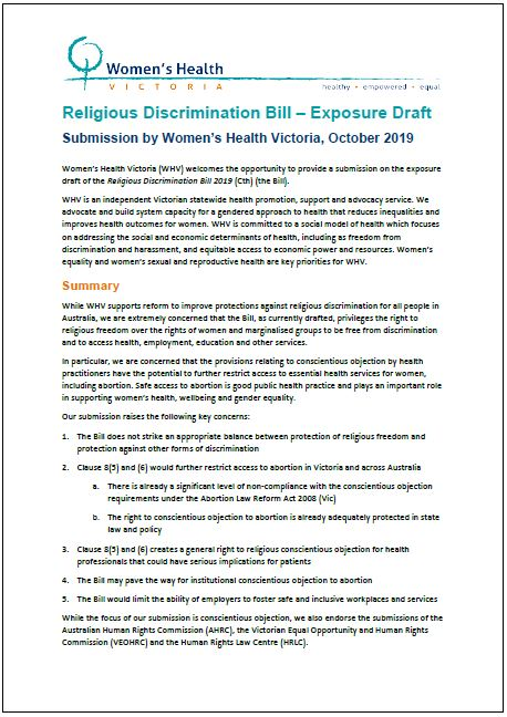 Submission to Religious Discrimination Bill Exposure Draft cover image