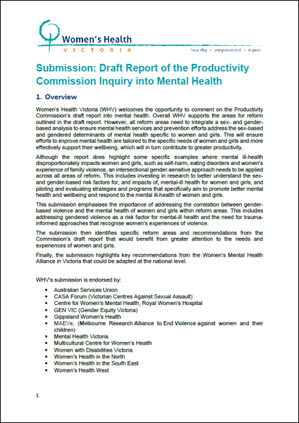 Submission on Draft report of the Productivity Commission Inquiry into Mental Health cover image