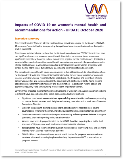 Front cover of Women's Mental Health Alliance paper on Impacts of COVID 19 on women's mental health