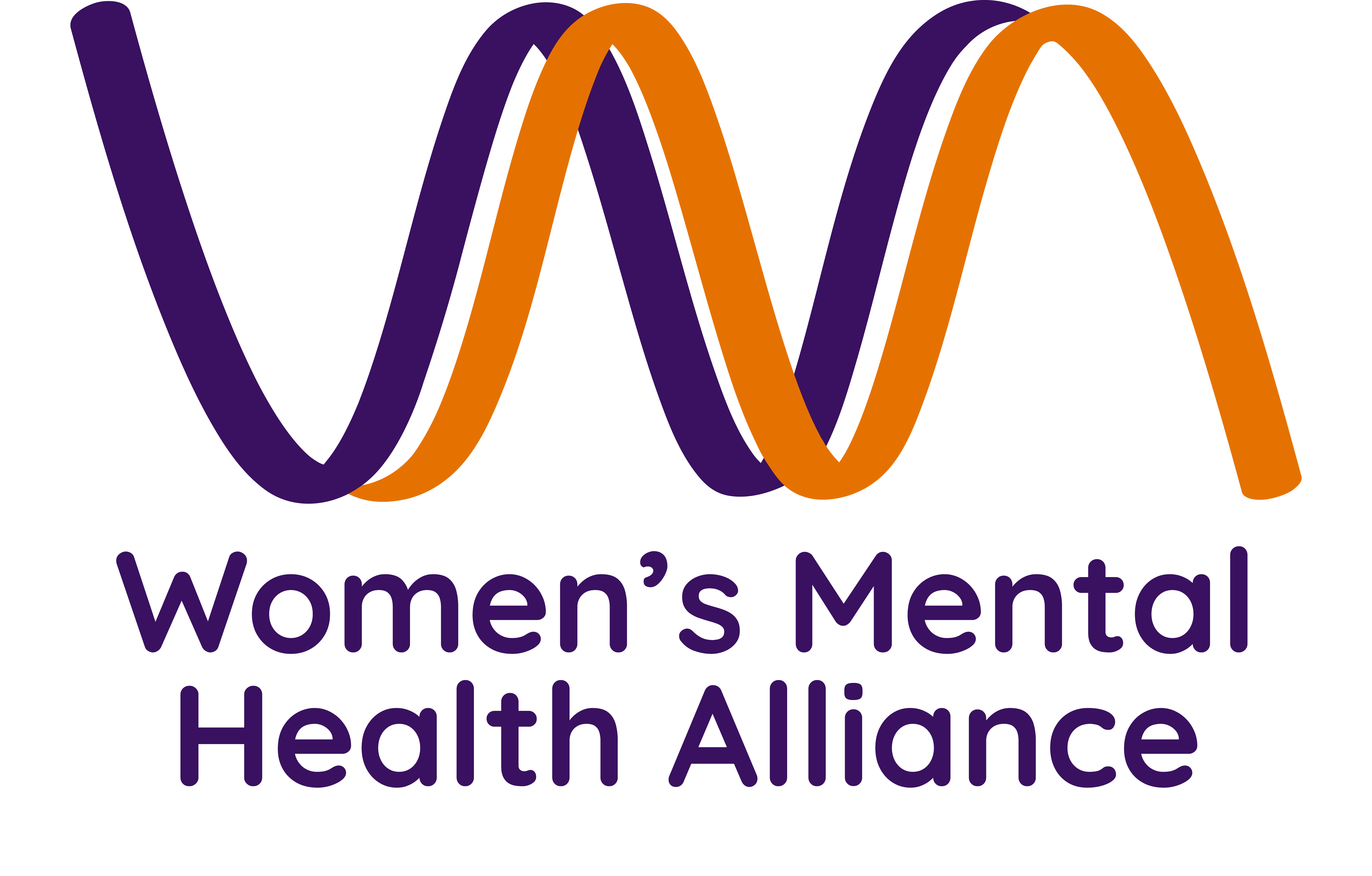 Women's Mental Health Alliance logo features two waves, one purple and one orange, that connect a 'W' and an 'M'