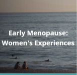 Picture for the Early menopause project on women's experiences. It is a photo of two women sitting on the beach and looking out to calm seas.