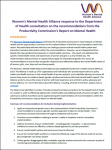 Front cover of the Word document submission to the consultation on the PC report into Mental Health. Headings in dark purple text and subheading in gold text.