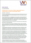 Media release front page. Word document with black text and the orange and purple Women's Mental Health Alliance logo